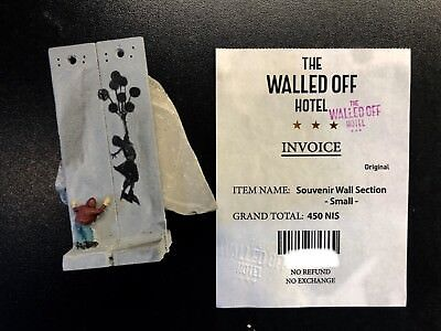 "Banksy Walled Off Hotel Wall Section incl Receipt ""Girl With Ballon"""