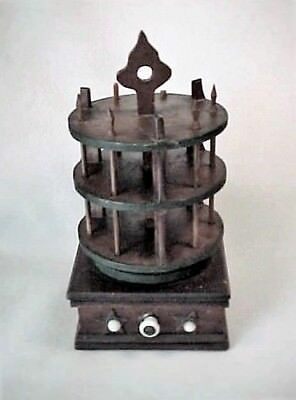 Antique Wood Sewing Box 3 Tier Thread Spool Holder / Caddy - Folk Art