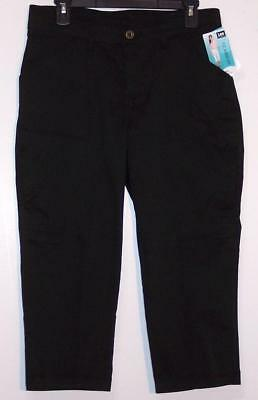 NWT Lee Relaxed Fit Mid Rise Side Leg Pockets Stretch Capri Pants 4 6 8  Black