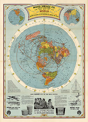 1945 flat earth 23x32 air age world map azimuthal equidistant 1945 flat earth air age map of the world azimuthal equidistant polar projection gumiabroncs Images
