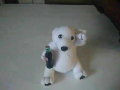 Play-By-Play Coca-Cola Polar Bear Stuffed Animal Plush holding Coke Bottle 1993
