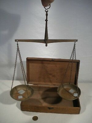 Antique Brass Hand Held Apothecary Balance Scale in Original Wood box