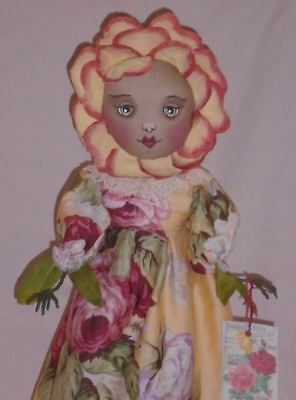 Primitive Folk Art Flower Girl Doll Cabbage Roses OOAK Spring By Maddys Treasure