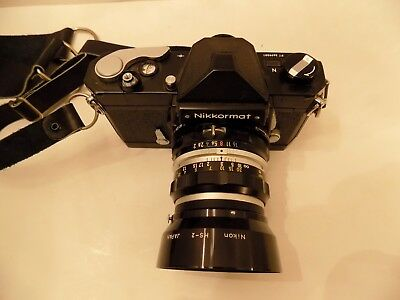 Nikon Nikkormat 35mm Film Camera 50mm Lens 52mm Skylight and Leather Neck Strap