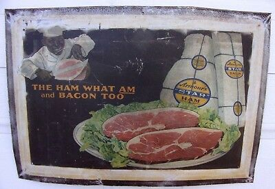 """Antique Armour's Star Ham """"The Ham What Am and Bacon Too"""" Black Americana Sign"""