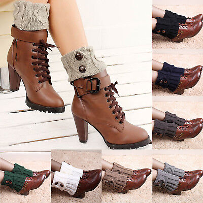 Womens Boot Socks Cuffs Toppers Short Ankle Leg Warmer With Button
