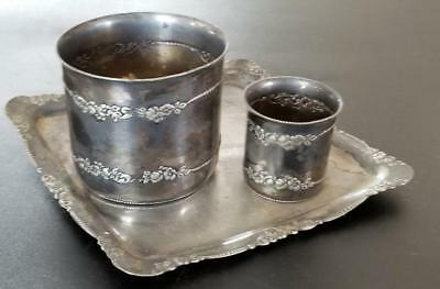 Pairpoint Quadruple Plate Silverplate Tray with 2 Cups Vases Drink Set