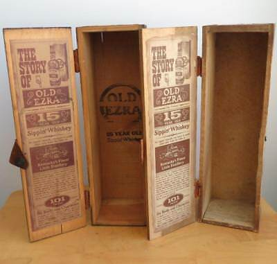 2 VTG Old Ezra Whiskey Wooden Empty Boxes 15 yr old Sippin Rustic Primitive