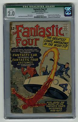 Fantastic Four #3 CGC 2.0 VINTAGE Marvel Comic KEY 1st App in Costumes Silver