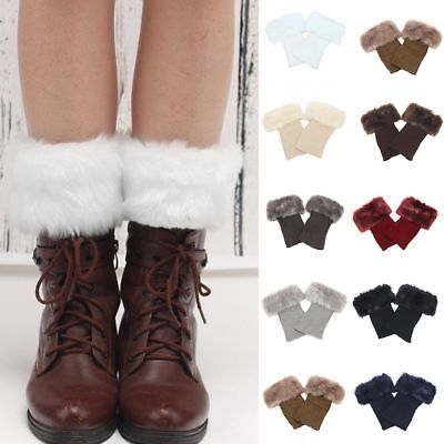 Women's Knitted Boot Cuffs Fur Knit Toppers Boots Socks Leg Warmers