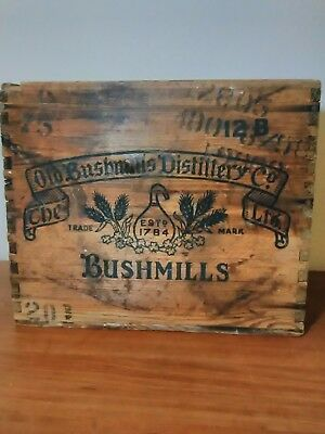 Vintage Bushmills Scotch Distillery Wooden Crate