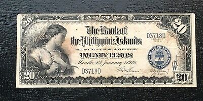 1928 BPI Philippines 20 Pesos P18 Only 40k 4 digits, In USA  $50 drop
