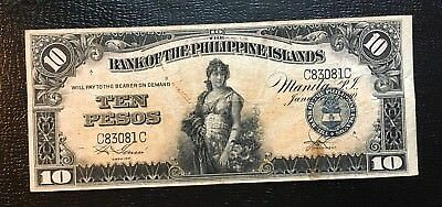 1920 Philippines 10 Pesos BPI P. 14 Flat w/ no rips In USA Combo S/H NR 24 Hrs