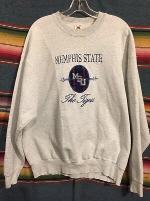 Vintage 80's Memphis State University Tigers Embroidered Sweatshirt XL