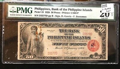 Ultra Rare 1928 Philippines 50 Pesos PMG20 4,090 ever. Only 6 PMG higher Rarity4