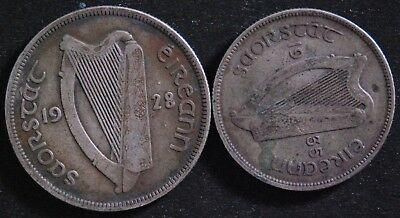 1928 Silver Half Crown Ireland, and 1935 Silver Florin, FREE SHIPPING,