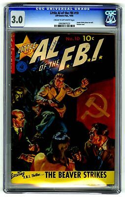 Little Al of the FBI #10 CGC 3.0 VINTAGE Ziff-Davis Pub Comic Stalin Cover Gold