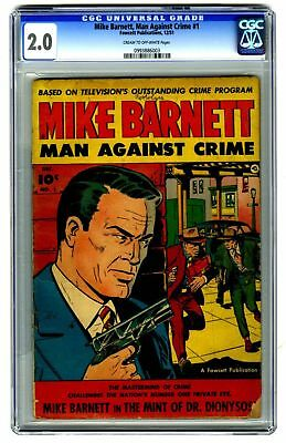 Mike Barnett, Man Against Crime #1 CGC 2.0 VINTAGE Fawcett Pub Comic Gold 10c
