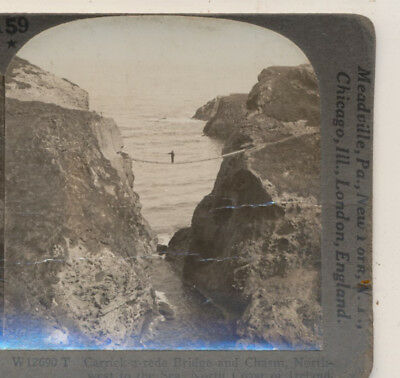 Keystone Stereoview of Carrick-a-rede Bridge in IRELAND from the 1930's T400 Set