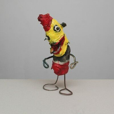 Odd Little Painted Wood and Wire Folk Art Figure Weird Strange Root Carving