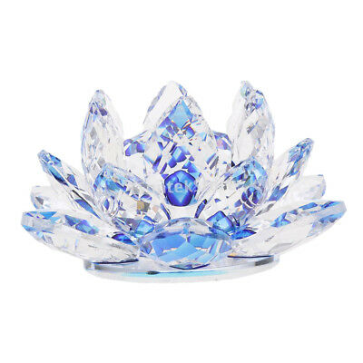 Reflection Crystal Lotus Flower with Gift Box 4-Inch Home Wedding Blue