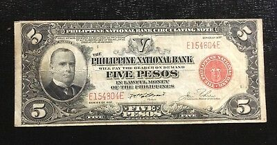 US / Philippines 1937 5 Peso P. 57 No Rips or Pinholes In USA Combo S/H
