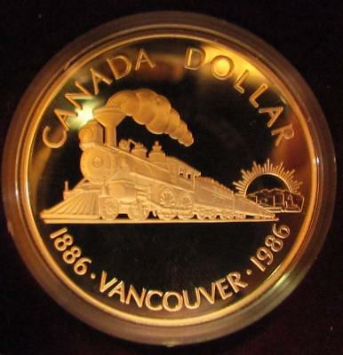 1986 Proof Silver Dollar Vancouver Centennial Train w/all packaging & COA (BK37)