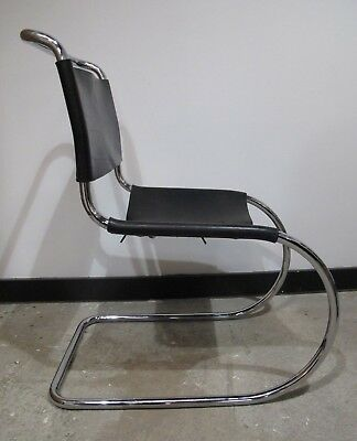 MIES VAN DER ROHE BLACK LEATHER MR SIDE CHAIR mid century knoll