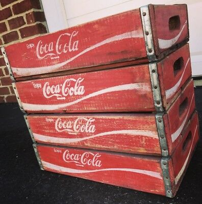 4 Vintage Wood Soda Pop Crates Property Of Coca Cola W/ Graphics Inside Crates