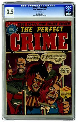 The Perfect Crime #28 CGC 3.5 VINTAGE Cross Pub Slit Throat Death Cover Gold 10c