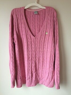 Old Navy XL Pink Maternity Sweater V Neck Cable Knit
