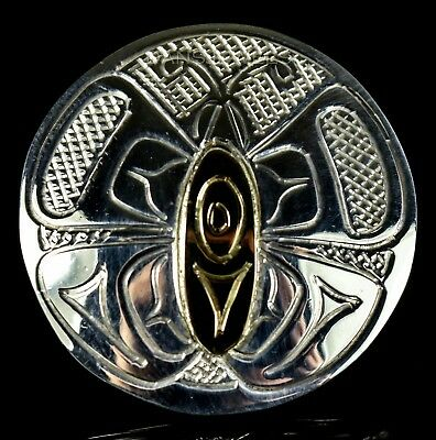 Sterling Silver & 14K Gold NW Coast First Nations Butterfly Tribal Pendant