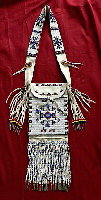 Native American Indian Lakota Sioux Artist Douglas A Fast Horse Large Beaded Bag