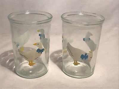 Vintage Bama Bama Jelly Jar Duck Goose Collectible Glasses Set Of 2