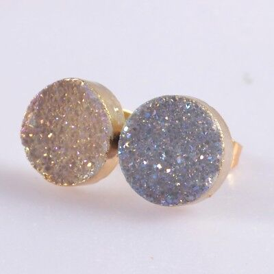 10mm Round Natural Agate Druzy Titanium AB Stud Earrings Gold Plated B057958