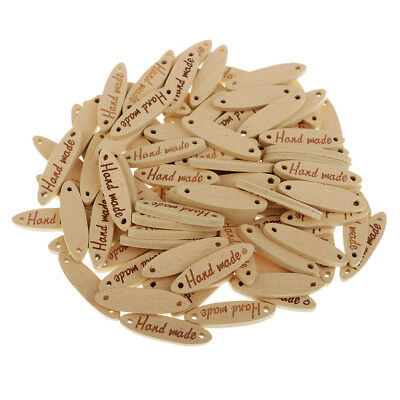 50x Natural Handmade Label Wooden 2-holes Buttons Gift Tags for Craft 27mm