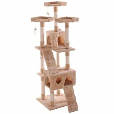 "LAZYMOON New 67"" Cat Activity Tree Tower Condo Furniture Scratching Post Pet"