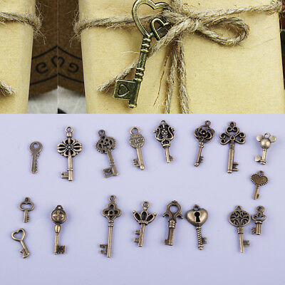 18pcs Assorted Antique Vintage Old Look Bronze Skeleton Keys Steampunk Pendants