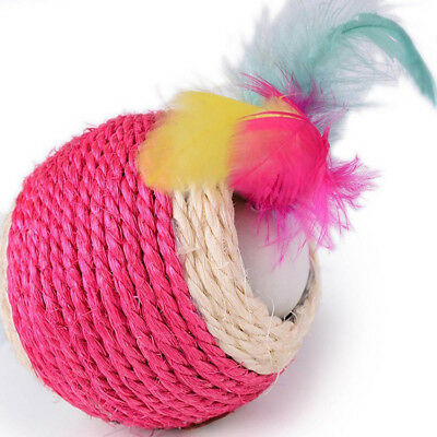 Dog Pet Feather For Kitten Scratch Teaser Play Rope Cat Toy Ball Sisal