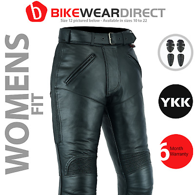 Texpeed Womens Ladies Leather Motorcycle Motorbike Biker Trousers CE Armour