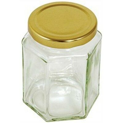 12oz Hexagonal Jar With Gold Screw Top Lid - Tala Preserving 340g Jam Glass