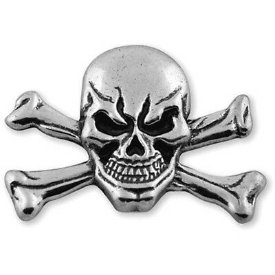 Skull Crossbones Concho - Antique Silver Rivet Back 15