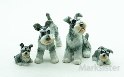 Figurine Animal Ceramic Statue Schnauzer Dog Family - CDG186