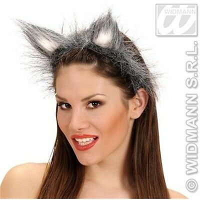 Hairy Fancy Dress Wolf Ears - Animal Costume Grey Headband Plush Furry New Were