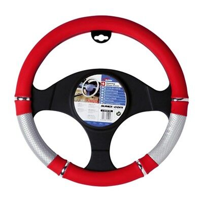Sumex Power Pvc Steering Wheel Cover - Red - Silver Glove Universal 3739cm
