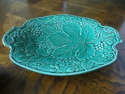 Antique! Green Vine Leaf Oval Fruit Tray By Burslem Till & Sons England, No Tax
