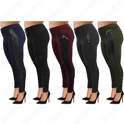 Womens Plus Big Size Jeggings Stretch Ladies Leggings Leather Look Lace 16-26