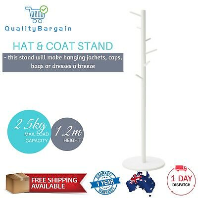 White Hat Coat & Stand Wooden Jacket Bag Umbrella Tree Hanger Hook Clothes Rack