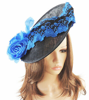 Black Royal Blue Fascinator Hat For Weddings/Ascot Kentucky Derby Q2