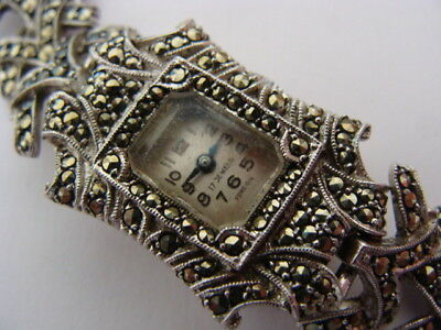 Vintage Art Deco ladies Silver plated & Marcasite swiss cocktail watch.